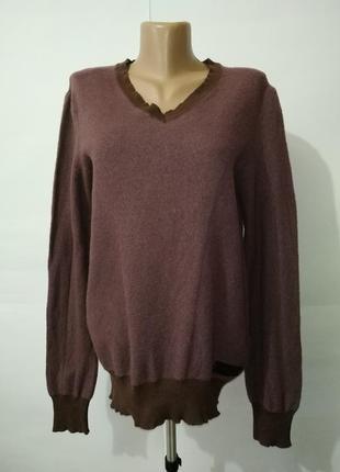 Шерстяной теплый свитер пуловер с v-образным вырезом diesel uk 14/42/,l