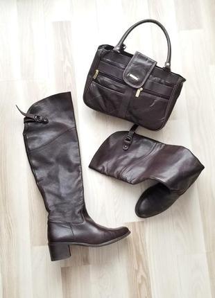Кожаные ботфорты и сумка,высокие сапоги,шоколадный цвет
