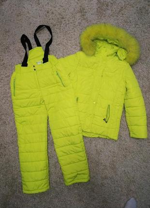 Яркий зимний костюм, куртка полукомбез, 146-152