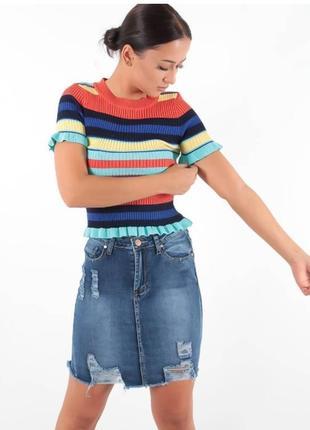 Джинсовая юбка, рваный низ, потертости, обтягивающая, тренд 2019, girl vivi