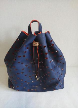 Рюкзак мешок американского бренда deux lux c перфорацией синий с красным контрастом