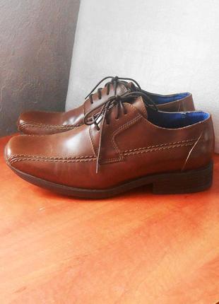 Ликвидация остатков! распродажа!  мужские кожаные фирм. туфли m&s, р.40.5 код n4002