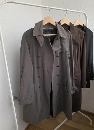 Плащ пальто двубортное серое тренч френч