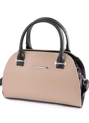 0da32e550878 Бежевая деловая каркасная женская сумка саквояж с короткими ручками или на  плечо