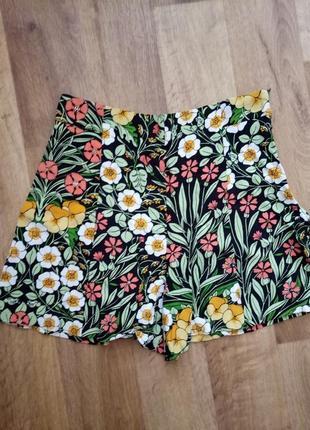 Zara легкие летние шорты с высокой посадкой размер хс