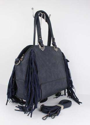 Женская сумка саквояж david jones 4377 темно-синяя с бахромой