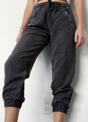 Zara  брюки женские для бега, бриджи, штаны, серые, повседневные