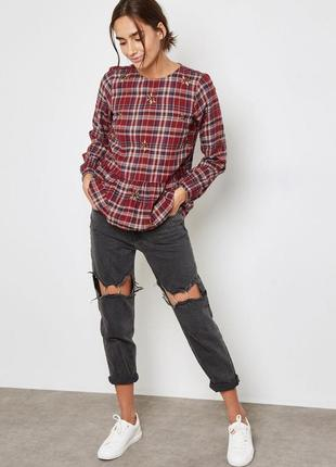 Блузка блуза туника клетчатая в клетку хлопковая с вышивкой с баской new look топ