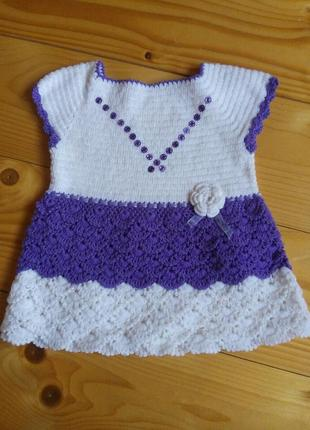 Вязание плаття и сарафан крючком 1-3років