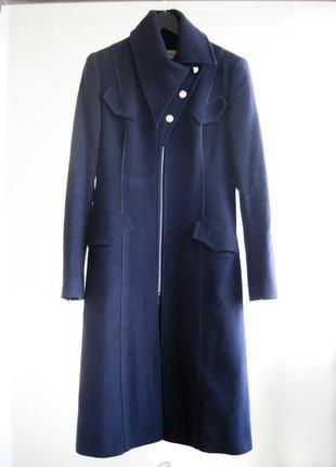 34f5fcda1f4 Шерстяное синее пальто dolcedonna 80 % шерсть весна деми пальто миди на  молнии