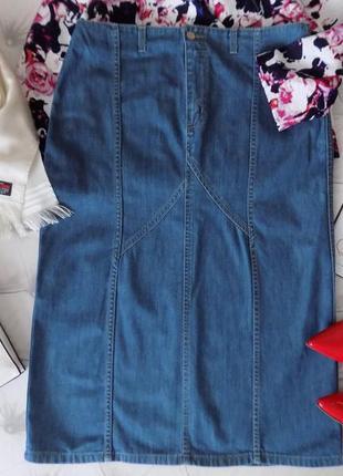 Высокая талия, шикарная джинсовая юбка миди