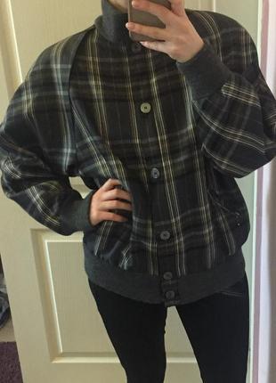 Бомбер, куртка, клетка, полоска, принт, шерсть, m-l, на весну-осень