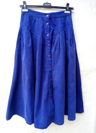 Красивая синяя вельветовая юбка на пуговицах,миди,солцеклеш,а силуэт,кэжуал.