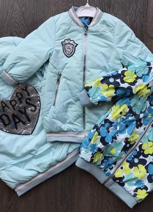 Стильная двухсторонняя курточка на маленьких модниц