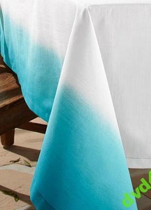 Скатерть бело-голубая из чистого хлопка. размер 150х280 тсм tchibo