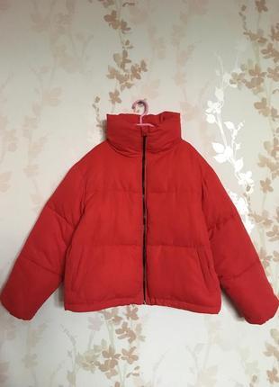 Новая дутая куртка пуховик с воротником стойкой