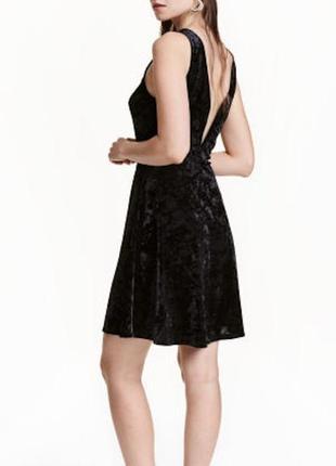 Платье велюровое сексуальное бархатное новое с глубоким вырезом v на спине divided h&m