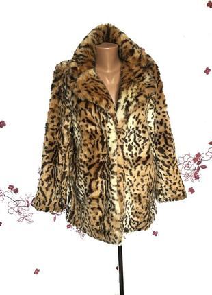 Шикарная актуальная шуба бойфренд - пальто леопард из гладкого эко меха 1+1=3 🎁