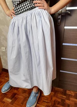 Фирменная натуральная юбка миди в полоску next