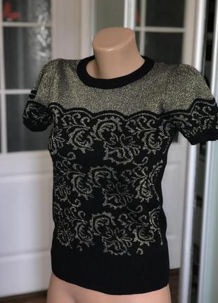 Нарядная блузка блага футболка кофта с коротким рукавом с напылением