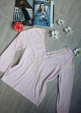 Нежнейшая розовая кофта с кружевами/блуза/блузка/джемпер от бренда marks&spencer