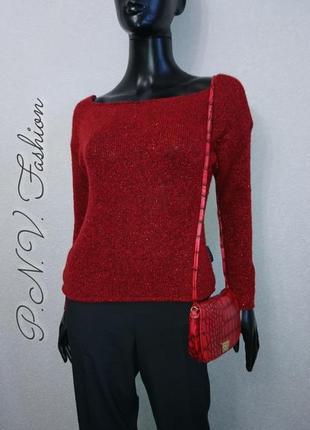 Красный свитер с люрексом базовая модель2 фото