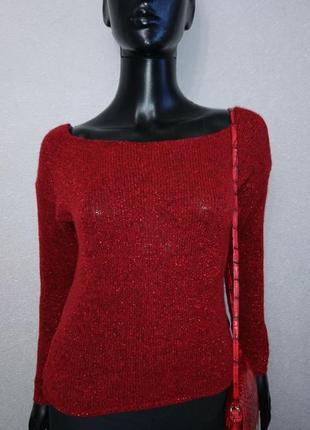 Красный свитер с люрексом базовая модель3 фото