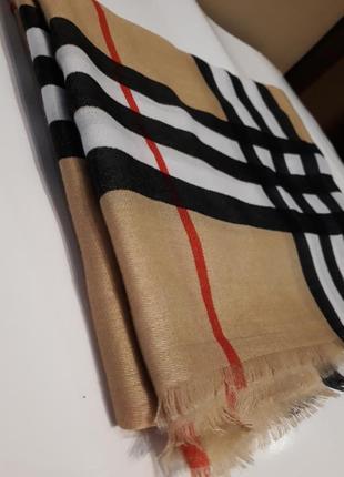 💝красивейший шарф шаль бамбуковый  кэмел  клетка барбери