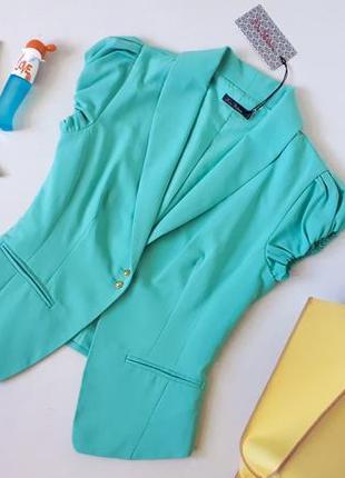 Новый с биркой мятный пиджак kira plastinina на пуговках приталенный жакет