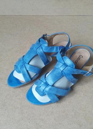 Босоножки gabor на широкую ногу подъем кожаные синие