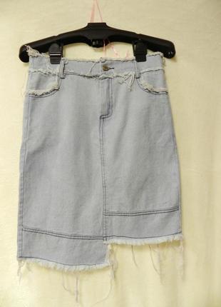 💣летняя джинсовая рваная юбка
