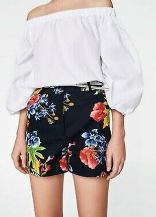 Хлопковые шорты zara с высокой посадкой в цветочный принт размер xl