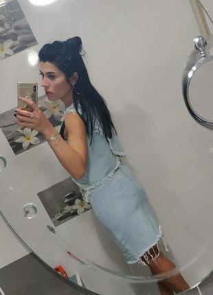 💣летняя джинсовая рваная юбка8 фото