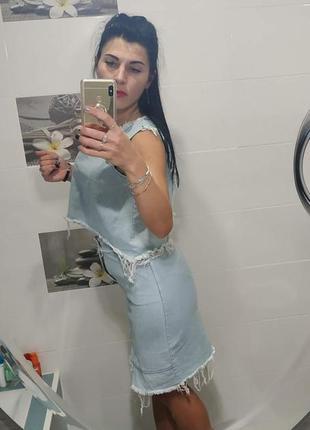 💣летняя джинсовая рваная юбка6 фото