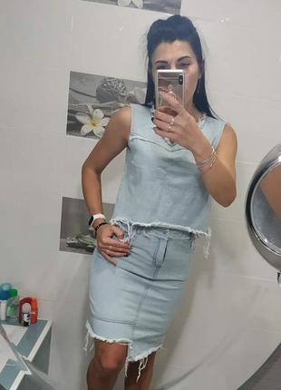 💣летняя джинсовая рваная юбка7 фото