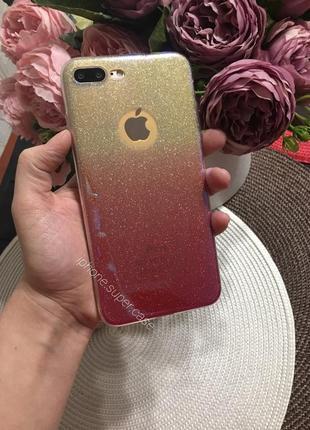 Красивые силиконовый чехол в блестках на айфон iphone 7 plus