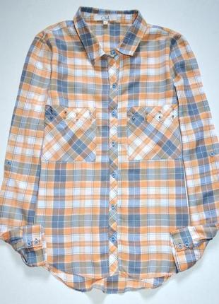 Ckh clockhouse. рубашка в клетку с большими нагрудными карманами. м-ка