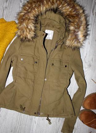 Стильная куртка zara с большим капюшоном (на синтепоне,осень ,весна)