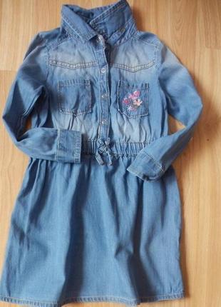 Фирменное легкое джинсовое платье e-vie малышке 3 года состояние отличное