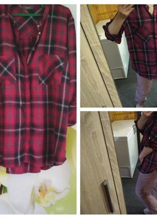 Стильная рубашка, туника,клетка, yessica, р. 44-48