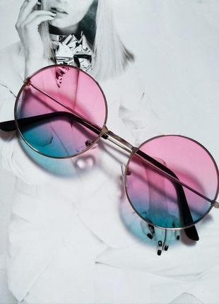 Круглые очки тишейды с цветной линзой с градиентом
