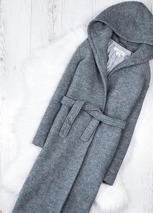 Круте пальто на запах с капюшоном h&m