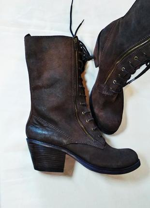 Кожаные ботинки/сапоги/полусапоги на низком каблуке office london