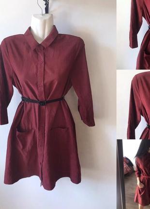 Плаття-рубашка кольору бордо