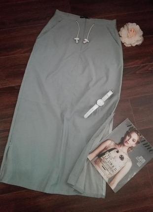 Классная юбка прямого покроя макси с молниями по бокам без подкладки saint tropez