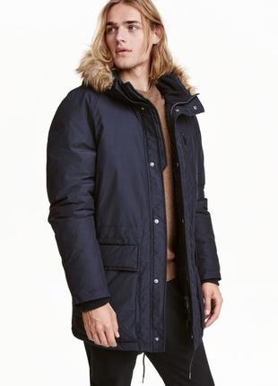 Куртка зимняя синяя мужская заталиная h&m xl xxl