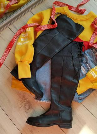 Кожаные сапоги ботфорты на шнуровке (германия)