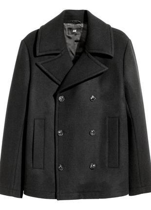 Пальто жакет черный мужской шерсть h&m 58 l xl