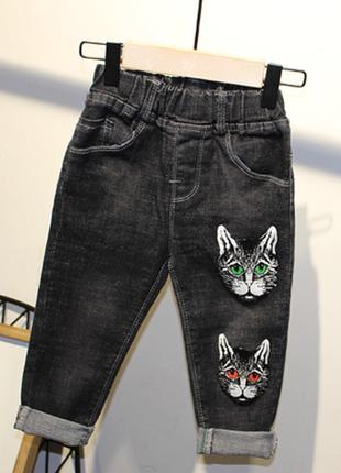 Новые детские черные джинсы в стиле гуччи