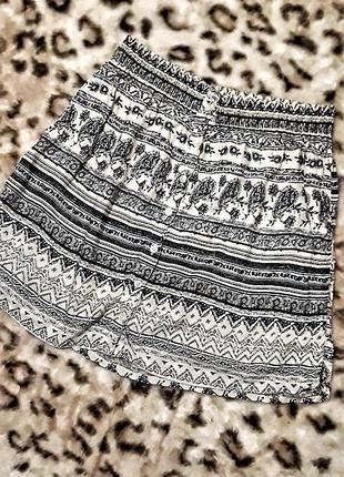 Легкая летняя юбка на резинке в интересный принт, этно, бохо, pull & bear, s, m